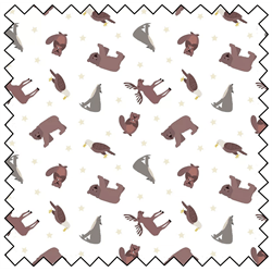 Lewis and Irene Fabric by the Metre North American Animals - White