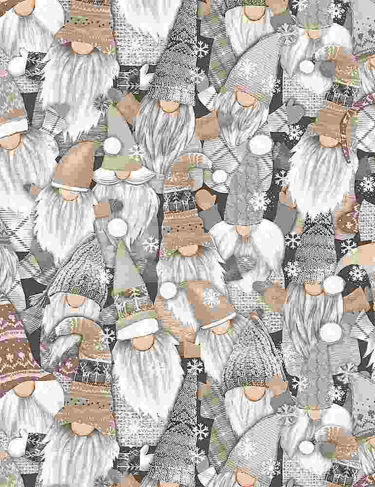 Timeless Treasures Fabric by the Metre Half Metre Packed White Xmas Gnomes - Fabric by the Metre