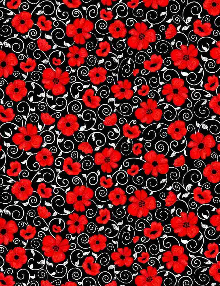 Poppy Twirls - Fabric by the Metre - The Artisans Gifting Company