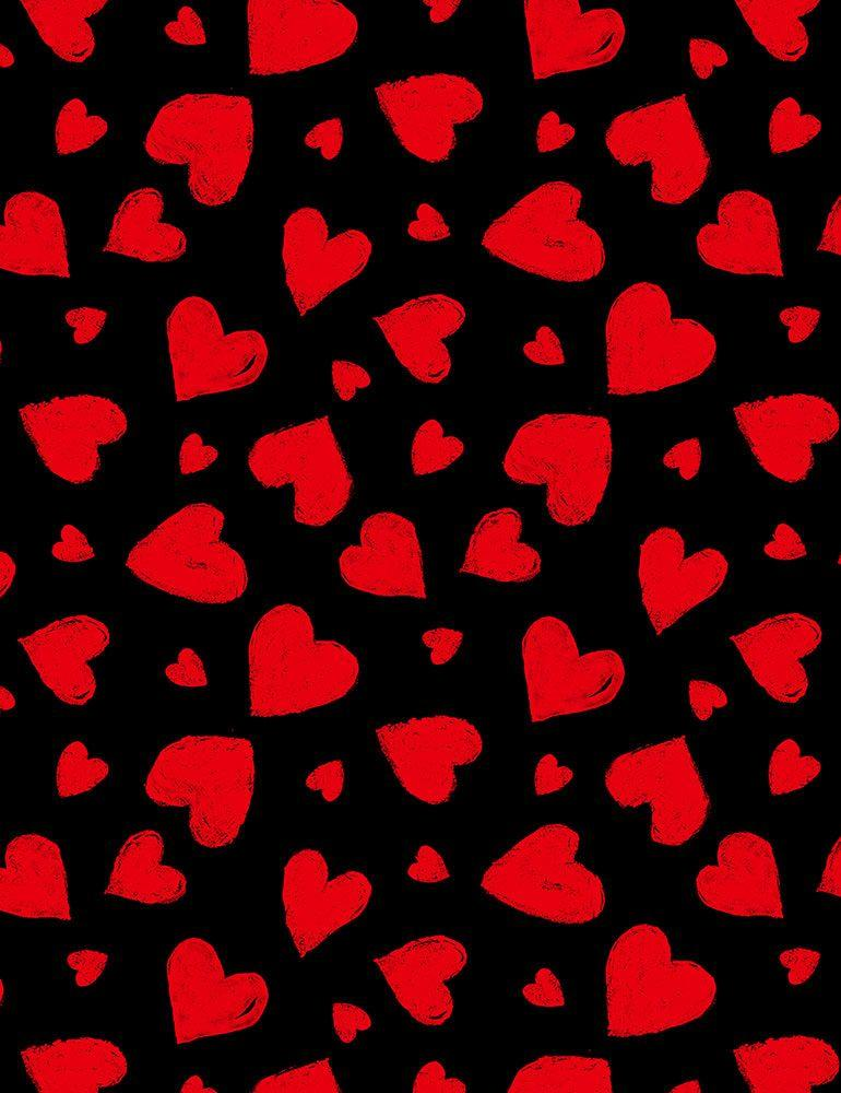 Red Chalk Hearts - Fabric by the Metre - The Artisans Gifting Company