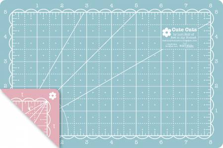 Lori Holt Cutting Mat 5in x 8in in Pink and Aqua - The Artisans Gifting Company /Quilts