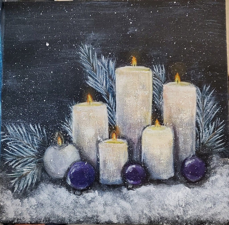 The Artisans Gifting Company Painting Christmas Candles - Original Acrylic Painting on Stretched Canvas Board