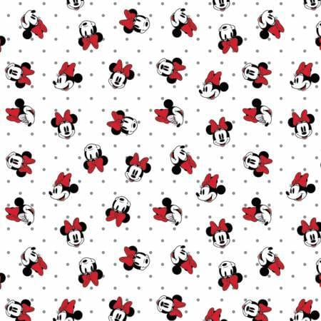 Camelot Design Studio Fabric by the Metre Half Metre White Disney Minnie Mouse Dreaming In Dots