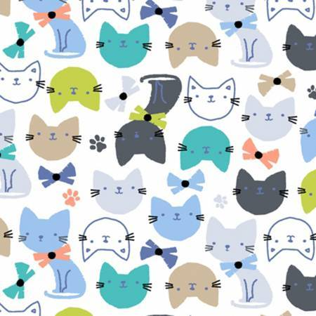 Windham Fabrics Fabric by the Metre Half Metre Flannel - Whiite Cat Head - Fabric by the Metre