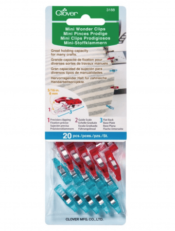 Clover Quilting Supplies and Notions Clover Mini Wonder Clips 20 Pack