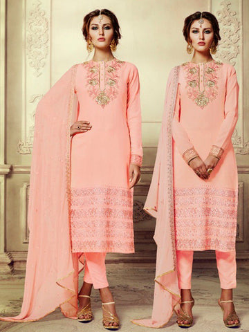 Readymade Peach pink georgette embroidery party wear srtaight salwar suit