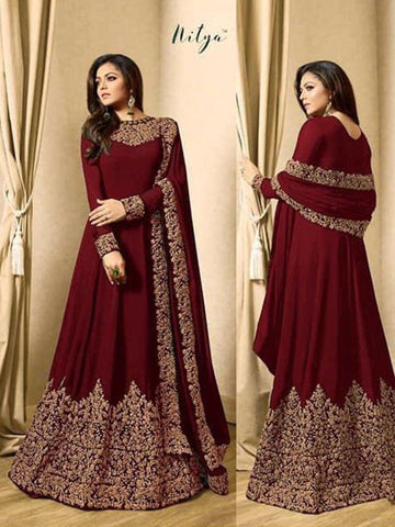 Nitya Designer Embroidered Maroon Color Party Wear Anarkali Suit