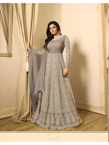 LT Nitya Designer Embroidered Grey Color Party Wear Anarkali Suit