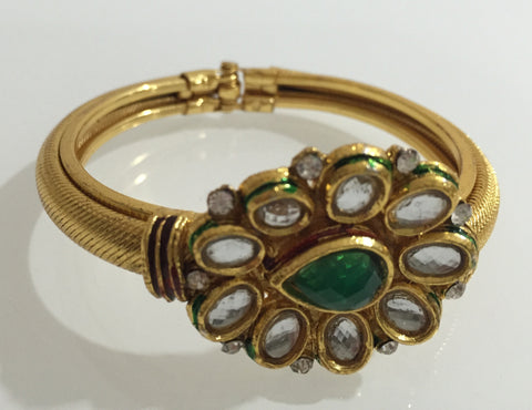 Golden Kada with Green and White Kundan work - B1 (30)