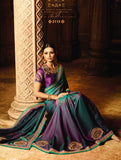 Plum violet georgette embroidery party/casual wear saree with unstitched blouse