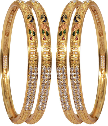 Mansiyaorange Alloy 22K Yellow Gold Bangle  (Pack of 4)