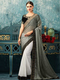 Jet black & White korian silk embroidery party/casual wear saree with blouse unstitched
