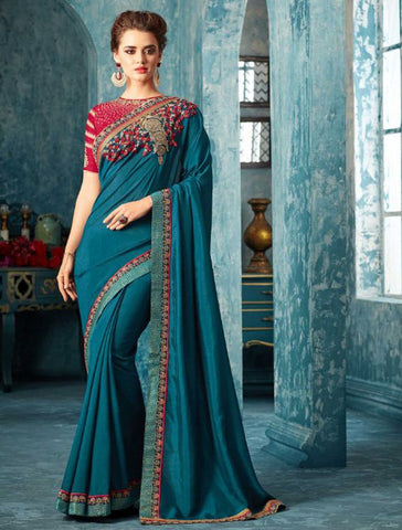 Azure blue fancy slik embroidery party/casual wear saree with blouse unstitched
