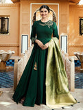 Banarasi Green heavy work party wear floor length full-stitched salwar suit with Banarasi Duppata