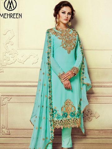 Turquoise georgette embroidery party wear salwar suit - Ready Made