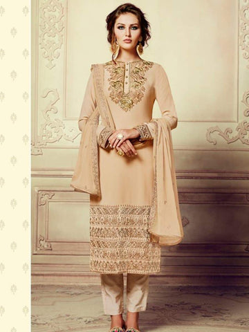 Readymade Beige georgette embroidery party wear straight salwar suit
