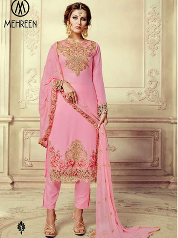 Rose pink georgette party wear straight readymade salwar suit