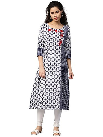 "Jaipur Kurti Women Off-White & Navy Blue Booti Print Embroidered A-line 46"" Length Cotton Slub Kurta"
