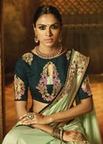 Designer Embroidered Pista Green Silk Saree