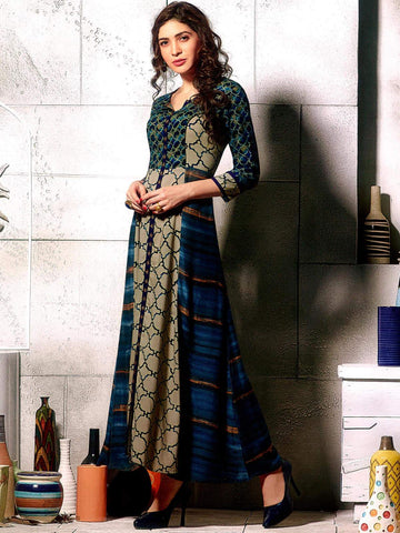 Midnight green rayon print additional work with embroidery western gown style party wear fullsitiched kurta