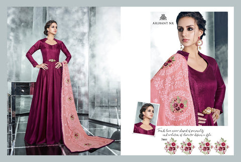 Dark Purple Arihant-Designer-Cheery-7001-Silk-Gown-Style-Branded-Kurti