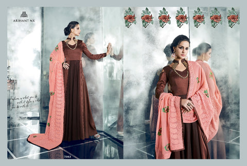 Brown Arihant-Designer-Cheery-7001-Silk-Gown-Style-Branded-Kurti