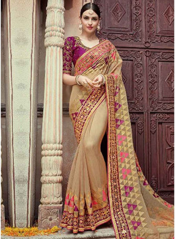 Beige Embroidery Resham Work Silk Saree