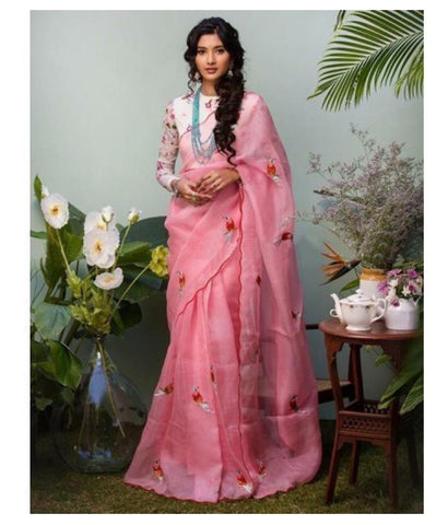 Crazy Butik Pink Cotton Silk Saree