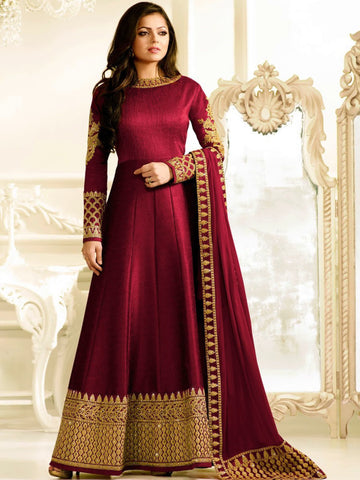 Designer Red Embroidered Long Anarkali Suit - LT Nitya