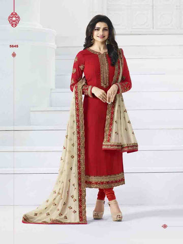 Designer Red Embroidered Long Straight Suit with beautiful Duppatta