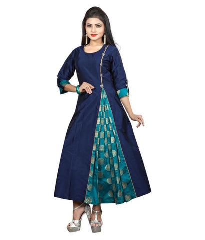 Divine International Trading Co. Blue Taffeta Anarkali Kurti