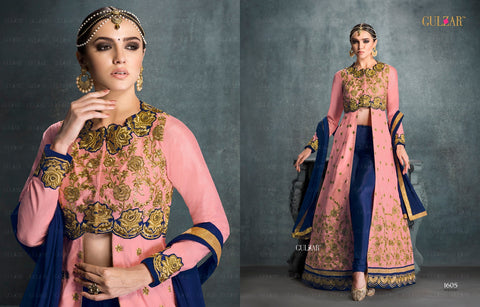 Gulzar Series Pink and Blue Designer Long Anarkali Suit