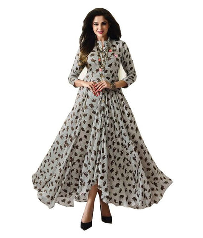 Infotech White Cotton Anarkali Kurti