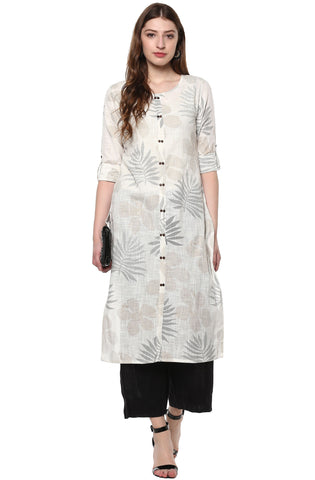 Janasya Off White Cotton Straight Kurti