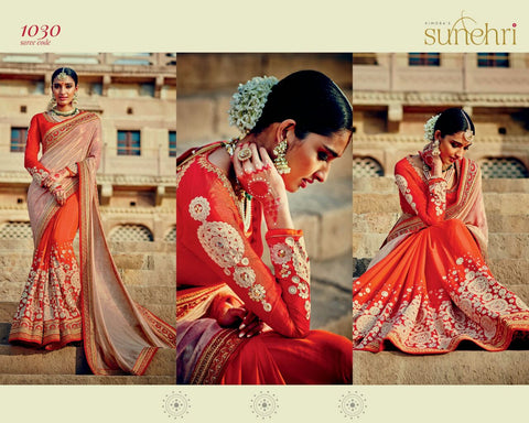 Orange and Shimmer Gold  Designer Saree with beautiful worl