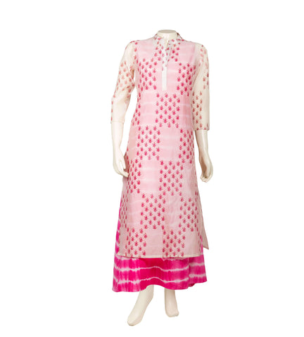Hand block printed Floor length kurta in pink and white