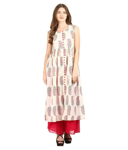 La Firangi Off White Cotton Straight Kurti