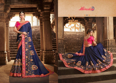 Navy Blue Designer Saree with Heavy Work