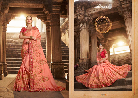 Peach Color Designer Saree with Heavy Work