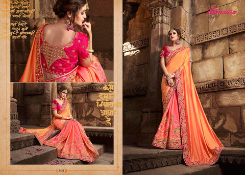 Orange and Yellow Color Designer Fancy-Embroidered-Traditional-Weding-Wear-Silk-Saree