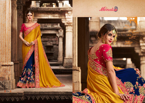 Yellow and Blue Color Designer Saree with Designer Blouse