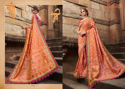 Orange Color Designer Saree with Designer Blouse