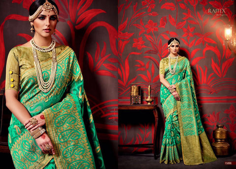 Green and Golden Silk Saree