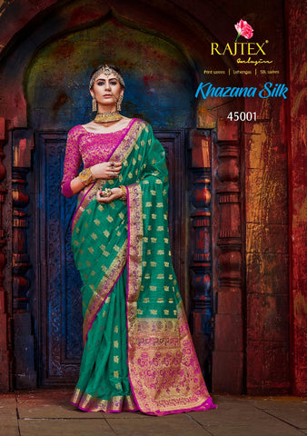 Green and Pink Nylon Silk Saree