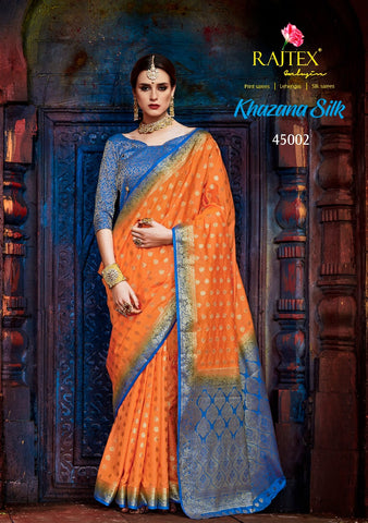 Orange and Blue Nylon Silk Saree