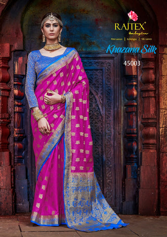 Dark Pink Blue Nylon Silk Saree
