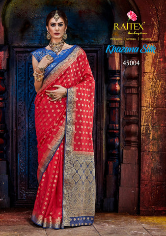 Red and Blue Nylon Silk Saree