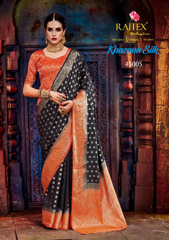 Black and Orange Nylon Silk Saree