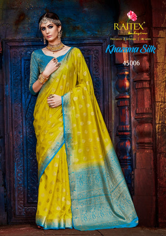 Yellow and Blue Nylon Silk Saree