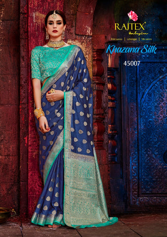 Navy Blue and Light Blue Border Nylon Silk Saree